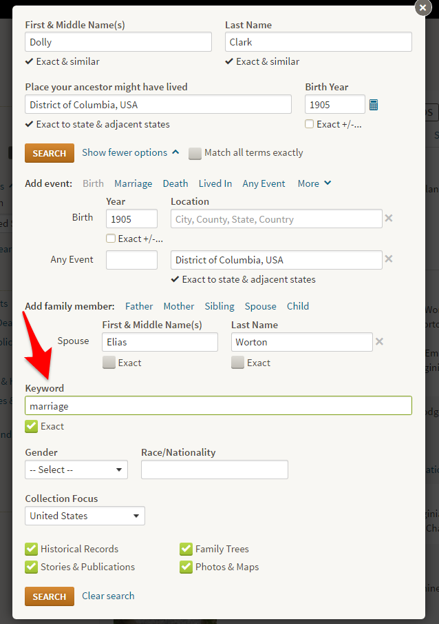 Ancestry Exact Keyword in Search Box