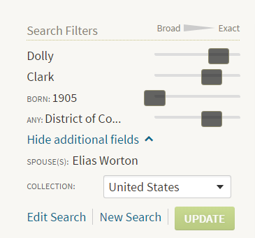 Ancestry Search Filters Box