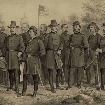 U.S. Army and Cavalry officers in front of the U.S. Capitol Building between 1861 and 1865