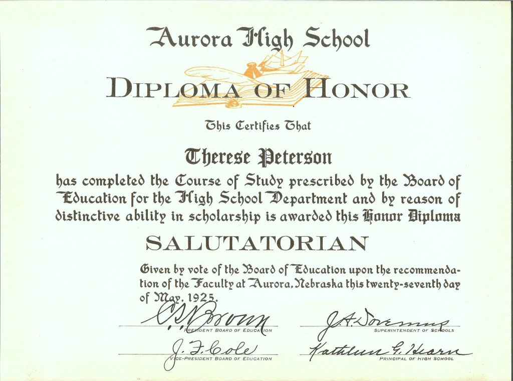 Therese Peterson's high school diploma