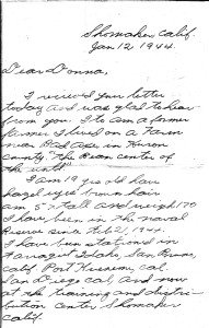 Norman's 1st letter to Donna, page 1