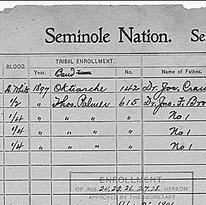 Seminole nation dawes roll