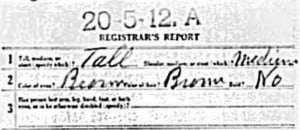 WWI Draft Registration Card, example of physical description