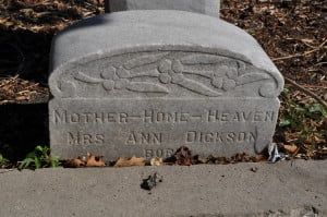 A sinking example - in a few years we may not even know her name! (Olivewood Cemetery, Houston, TX)