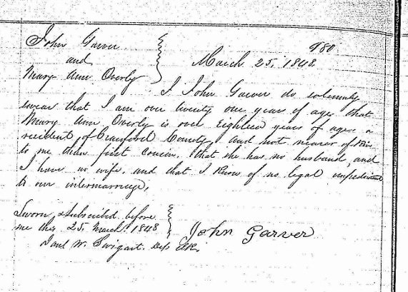 32 Marriage record, 1848 - John Garver Jr. and Mary Ann Overly, Crawford Co, OH (1280x631)