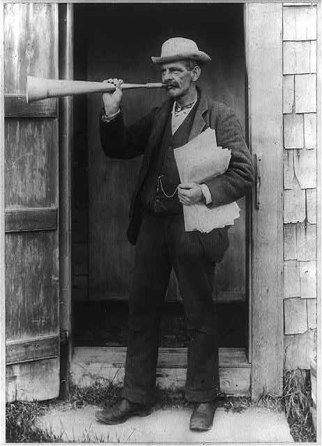 """""""Town crier, Nantucket, Mass"""" c.1897 - Library of Congress"""