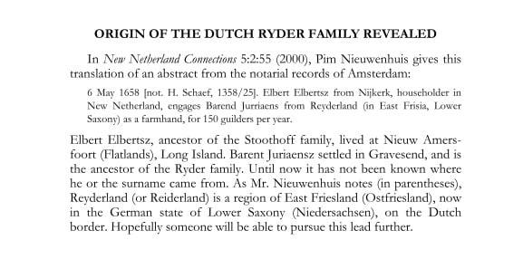 1658 Barent Ryder NYGBR 131 4 p290