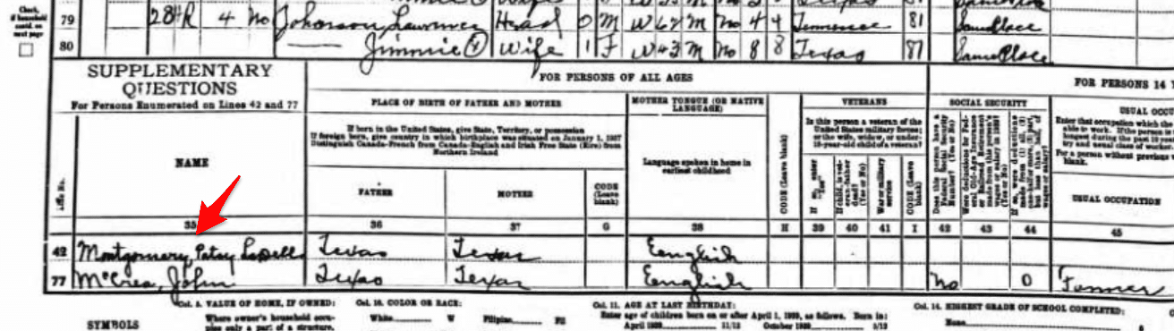 Supplemental Questions 1940 Census Information