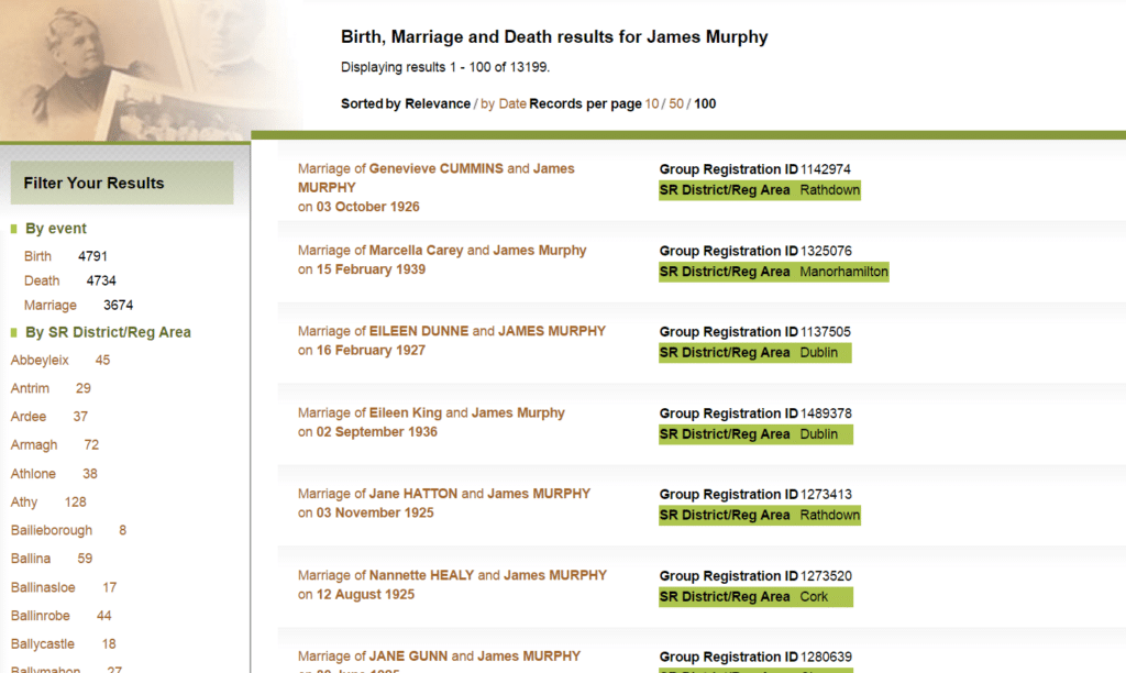 Millions of Irish Birth, Marriage and Death Records are Now Online for Free - Results