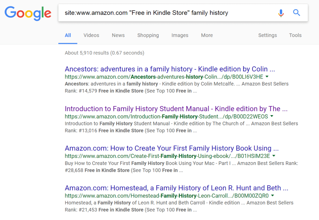 Search Free Kindle Books for Family History This Simple Google Trick