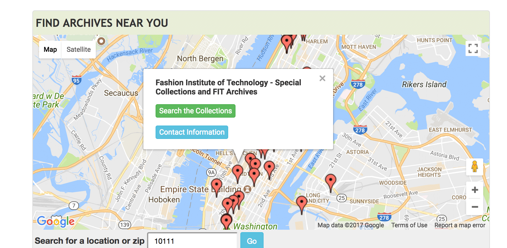 Map showing location of FIT Archives in NYC on ArchiveGrid