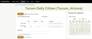 "Search screen of Ancestry.com's Newspapers & Publications collection for ""Tucson Daily Citizen"""