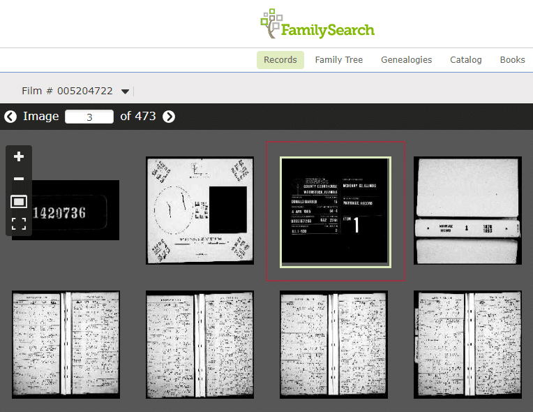 Locating original genealogy records, film target and microfilm images on FamilySearch