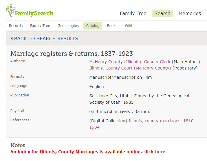 Locating original genealogy records, film number results a for marriage certificate