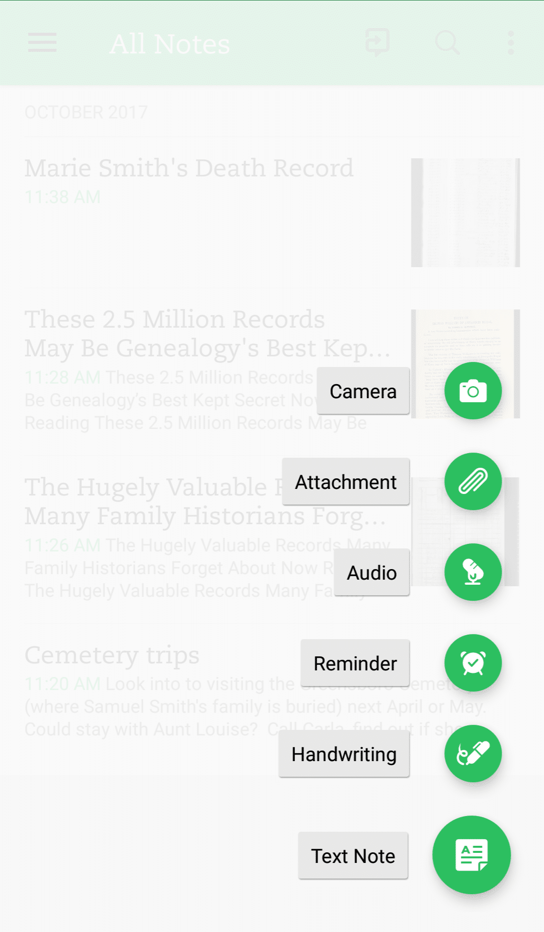 Evernote for genealogy, mobile app menu