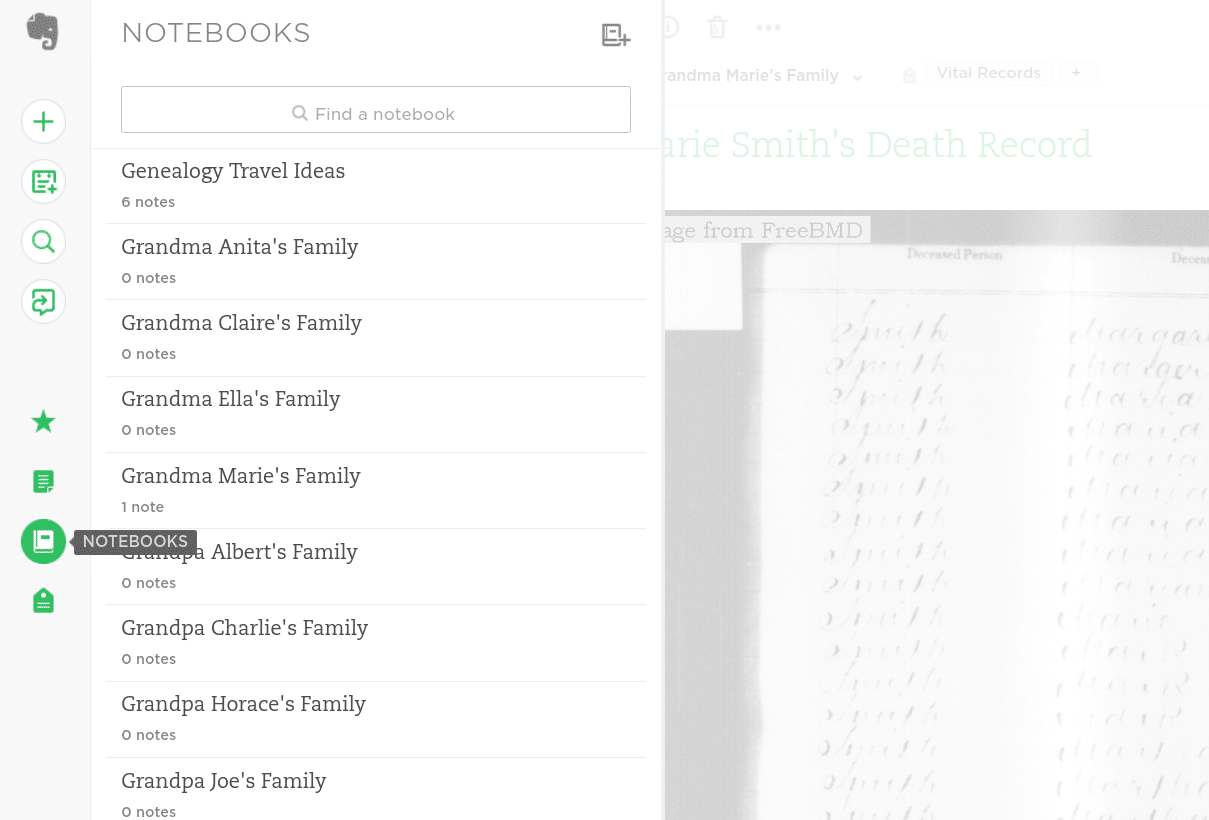 Evernote for genealogy, using notebooks