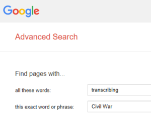 Volunteering Your Genealogy Skills, Google advanced search of transcribing + Civil War