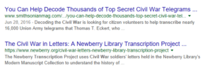 Volunteering Your Genealogy Skills, Google search results for transcribing + Civil War
