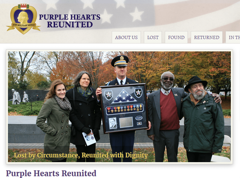 Volunteering Your Genealogy Skills, Puple Hearts Reunited homepage