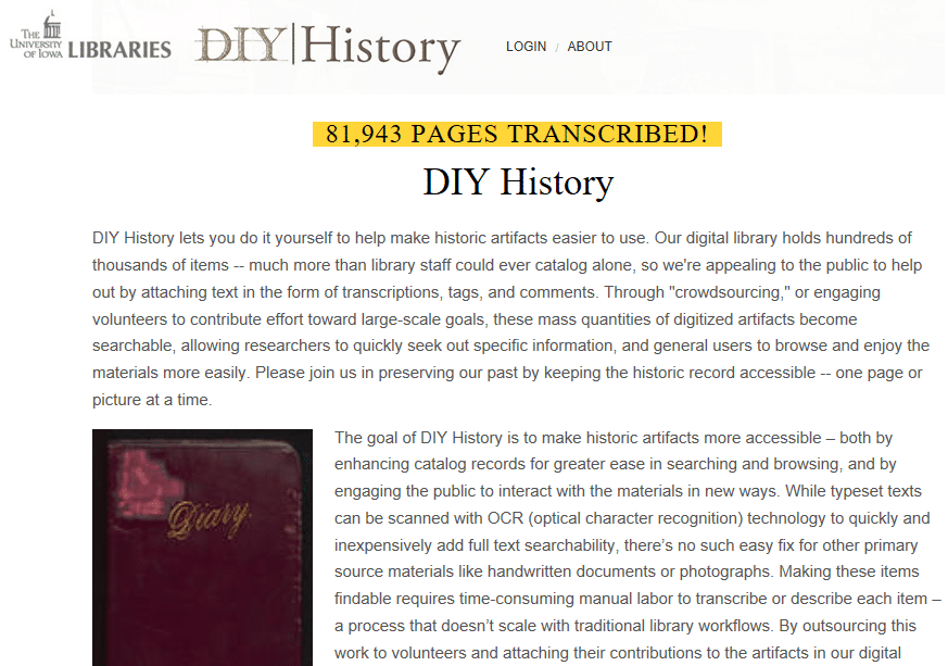 "Volunteering Your Genealogy Skills, University of Iowa Libraries ""DIY History"" transcription page"