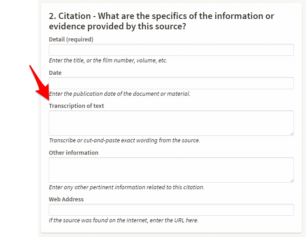 Ancestry Citation Transcription Area