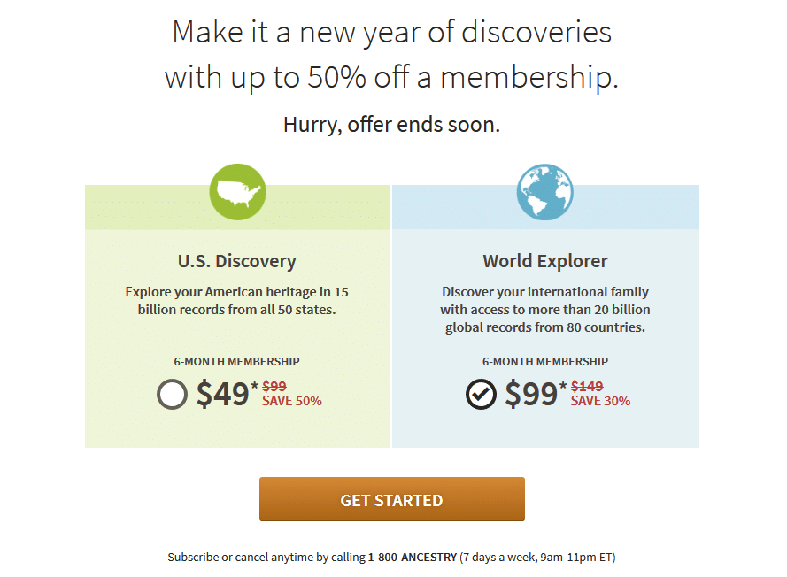 Ancestry 50% Off New Year 2018