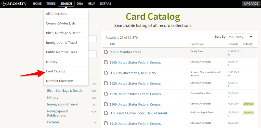Find the Ancestry Card Catalog