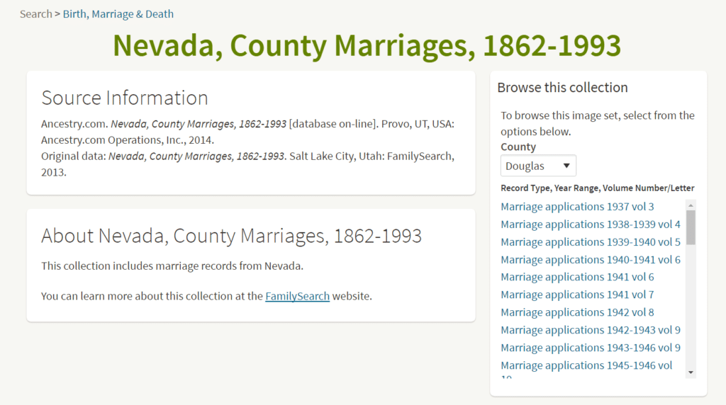 Nevada County Marriages Record from Ancestry Browse Only Collection