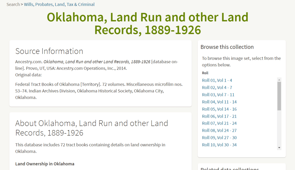 Oklahoma Land Run Records - Ancestry Browse Only Collection