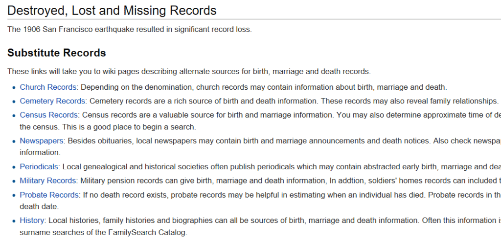 Finding Substitute Vital Records with the FamilySearch Wiki