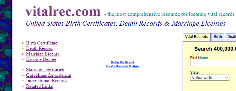 VitalRec Directory for Finding Vital Records
