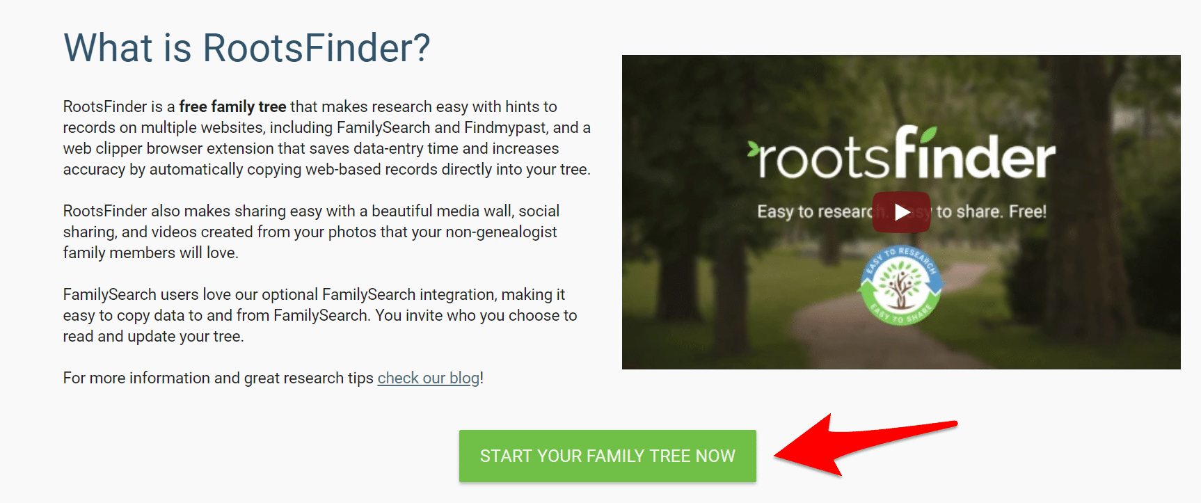 RootsFinder Start a Family Tree