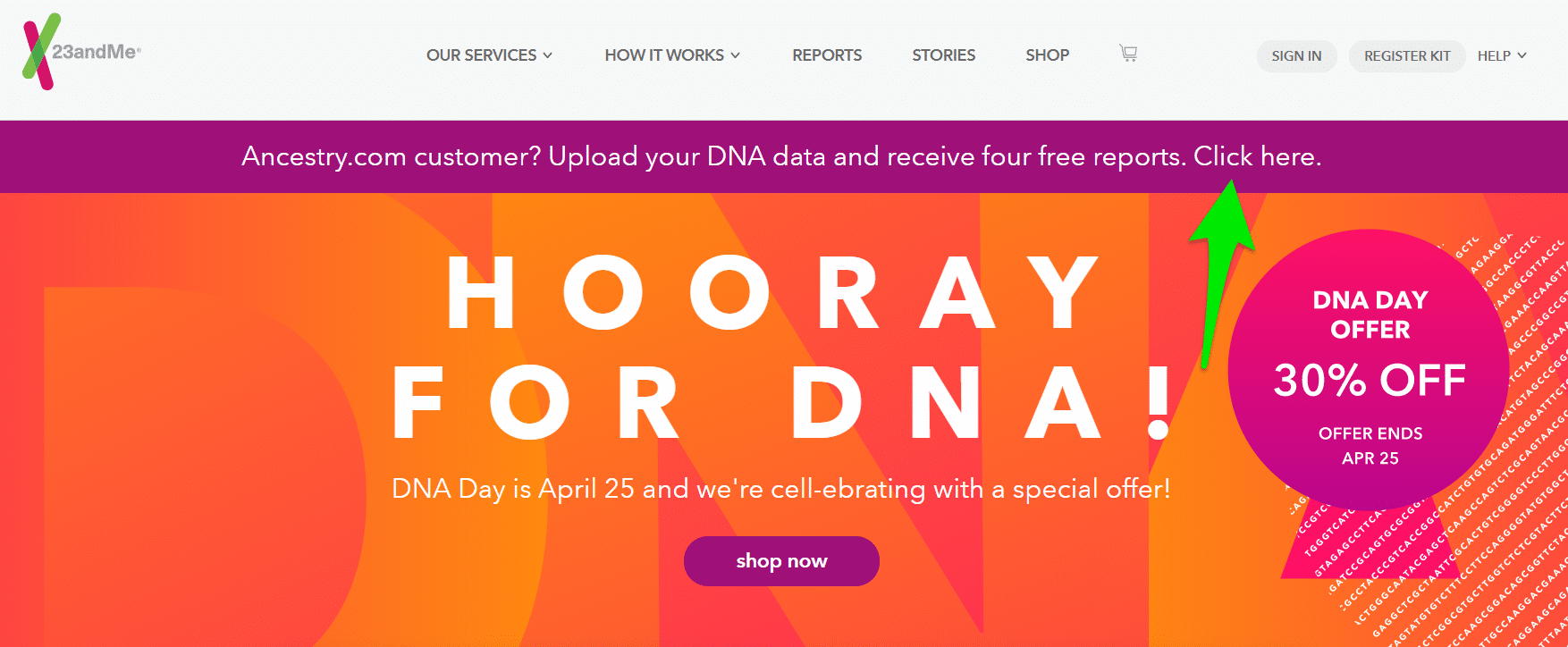23andMe Free Upload Offer Home Page