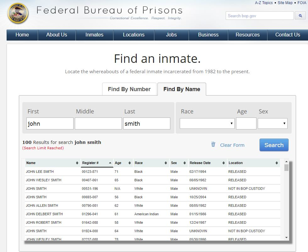 Criminal Records for Genealogy Research, BOP