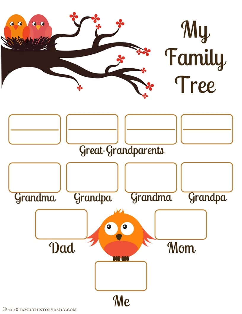 4 Free Family Tree Templates for Genealogy, Craft or School