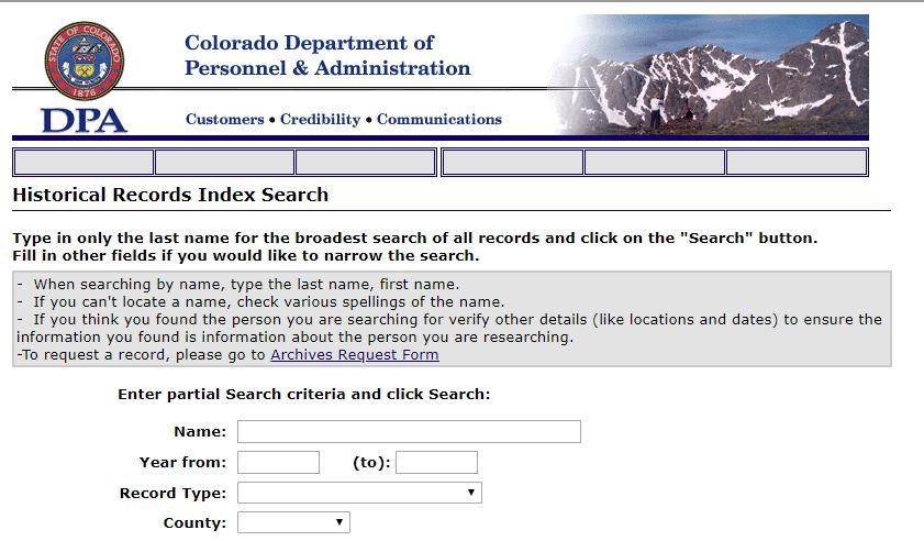 Criminal Records for Genealogy Research, Colorado DPA