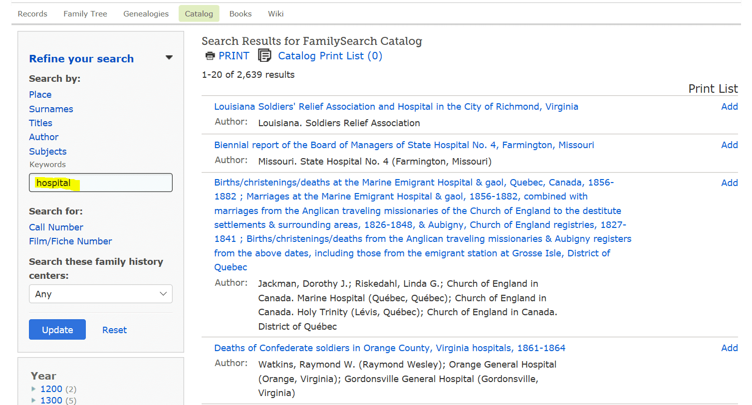 Hospital records for genealogy research, Family Search catalog