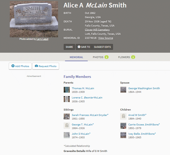Finding your ancestor's gravesite, find a grave listing