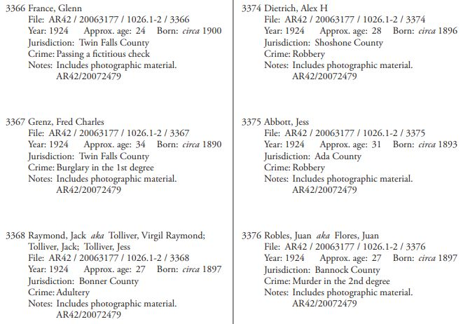 Criminal Records for Genealogy Research, Idaho Penitentiary