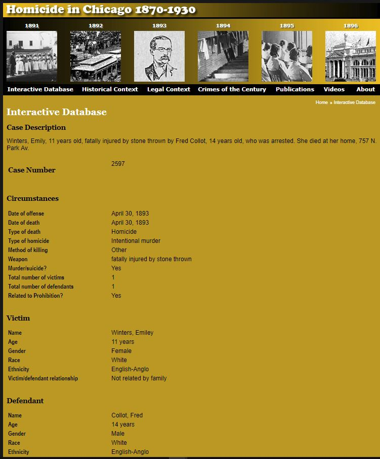 Criminal Records for Genealogy Research, homicide in chicago