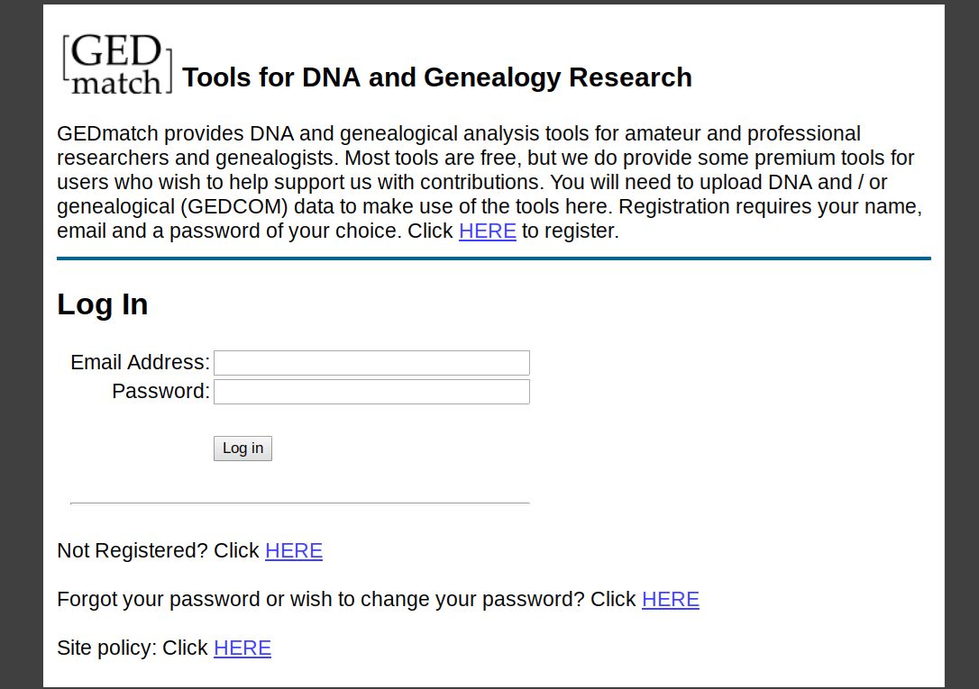 Using GEDmatch for Genealogy DNA Test Results, GEDmatch login page