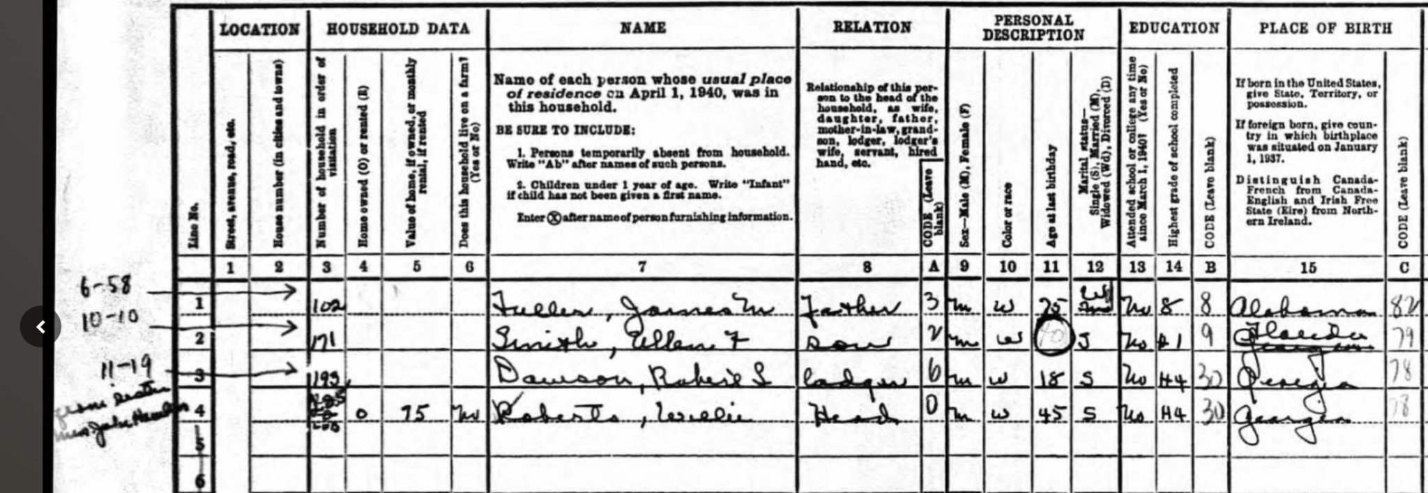 1940 Census Additional Individuals End of Enumeration District