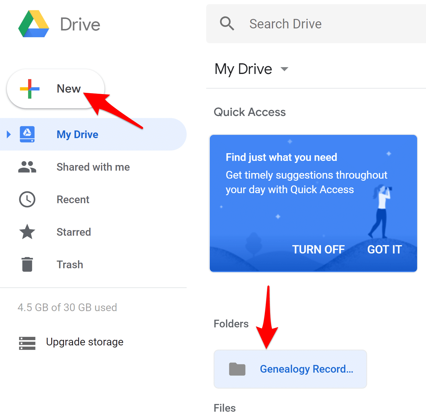 Create New Folder for Genealogy Files on Google Drive