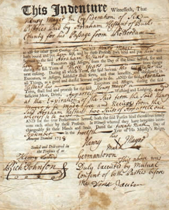 The indenture of Henry Mayer to Abraham Hestant of Bucks County, Pennsylvania, on 29 September 1738.