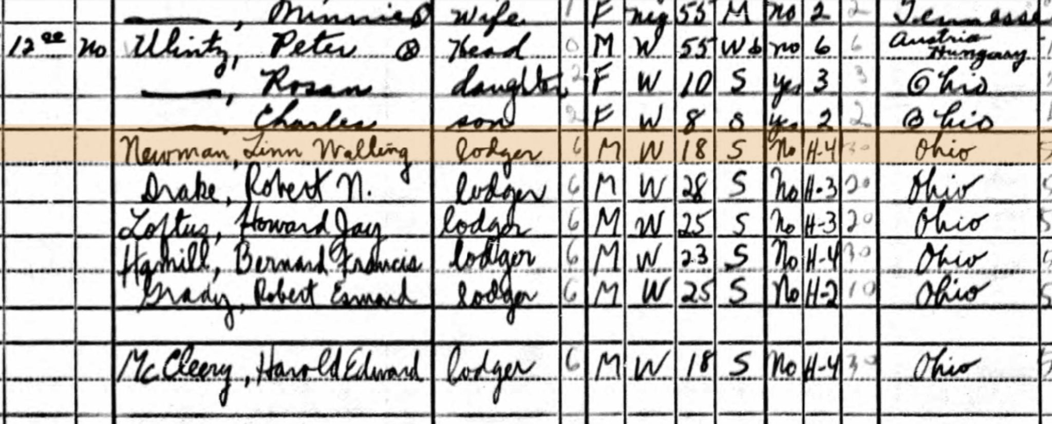 Lodgers in 1940 Census