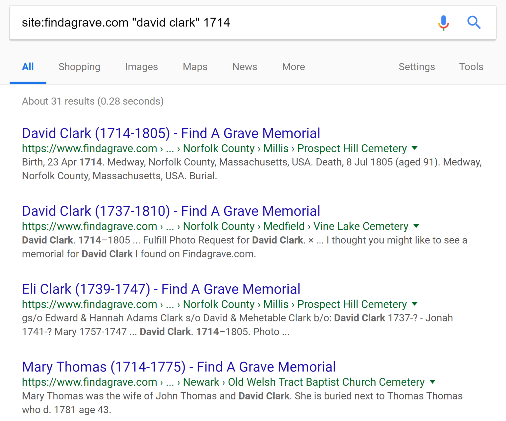Search FindaGrave With Google