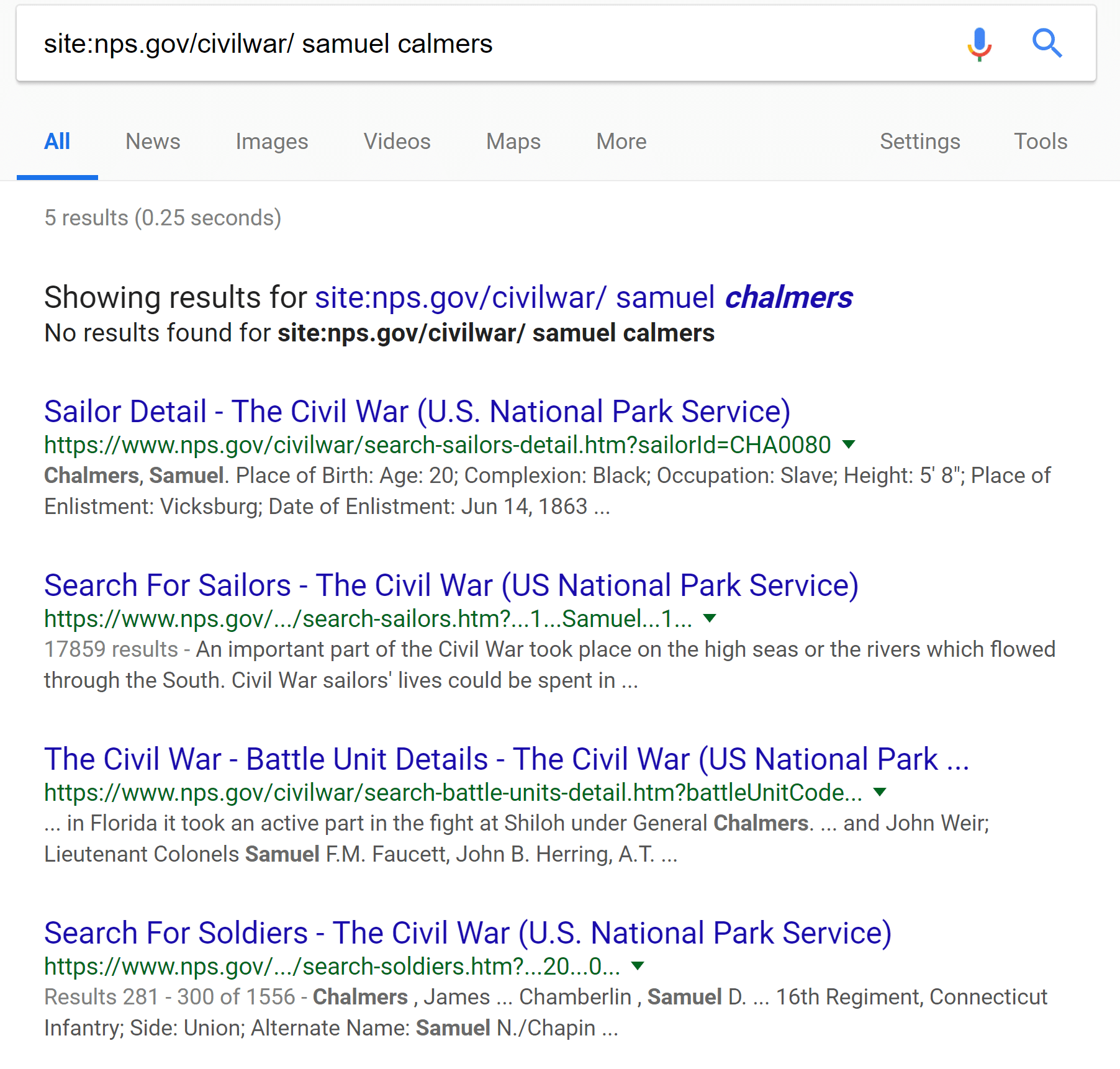 Search Results Google Search NPS Civil War Databases