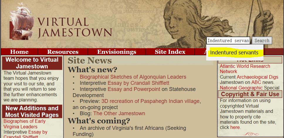 Indentured Servant Ancestors, Virtual Jamestown