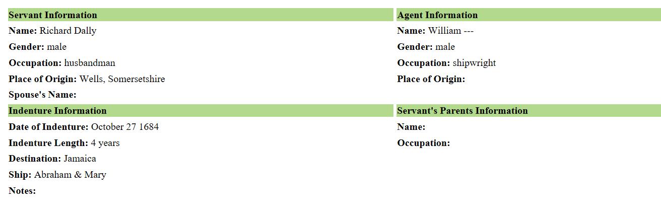 Indentured Servant Ancestors, Virtual Jamestown search results