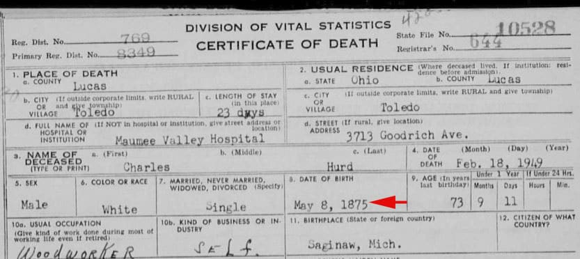 Reexamine genealogy documents, death certificate